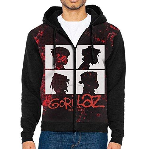 Demon Days Gorillaz Cool Mens Lightweight Long Sleeve Raglan Hoodie Zip up Hoodie Sweatshirt