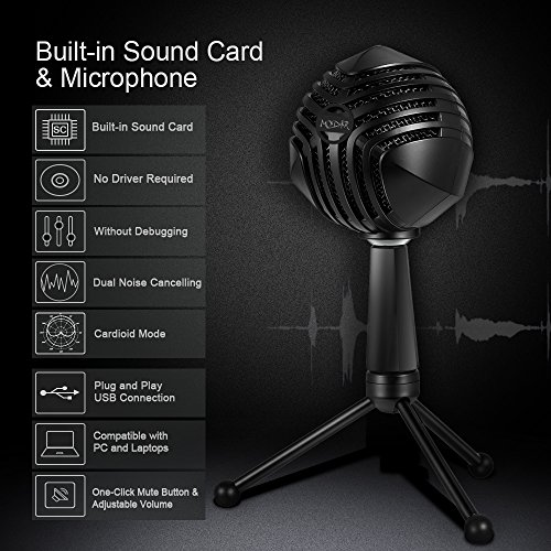 MODAR USB Cardioid Microphone Stand, Studio Broadcasting Recording Condenser Mic Desktop Professional with LED Power Indicatior, Volume Adjuster, Mute Button, USB Port and Headphone Jack by MODAR (Image #2)