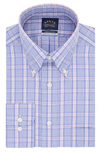 (Eagle Men's Dress Shirt Non Iron Stretch Collar Regular Fit Check, Corn Flower, 17.5