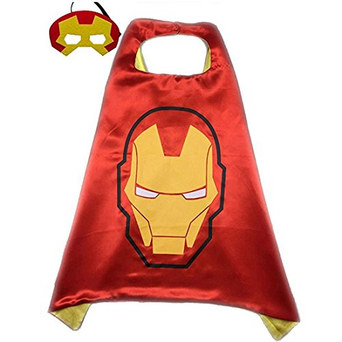 [Calor Superhero or Princess Cape and Mask Set Halloween Dress Up Costume For Kids Childrens (Red & Yellow] (Iron Man Cat Costume)