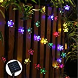 Gold Happy Flower light Solar LED fairy string light 7M 50 led fairy light Christmas light garland battery power garden decor