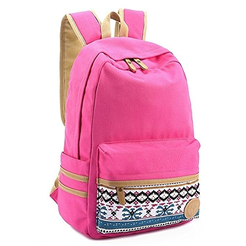 "Coofit® 14"" Rose Vintage Aztec Print Unisex Fashion Canvas School Backpacks"