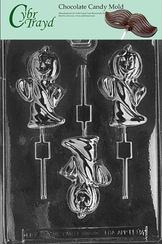 Cybrtrayd Life of the Party H084 Halloween Ghost with Pumpkin Head Chocolate Candy Mold in Sealed Protective Poly Bag Imprinted with Copyrighted Cybrtrayd Molding Instructions