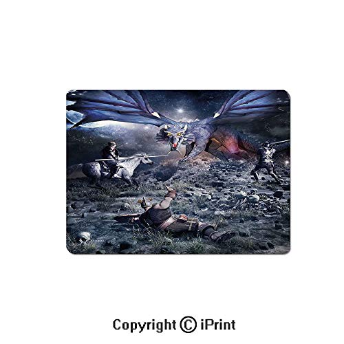 Gaming Mouse Pads, Dragon Fighting with Medieval Knights War Scene in Gothic Fiction Non Slip Rubber Mousepad,7.1x8.7 inch,Dark Blue Grey Purplegrey