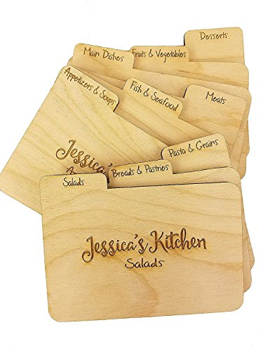 Custom Engraved Wood 3x5 RECIPE DIVIDERS (Set of 9) with Tabs