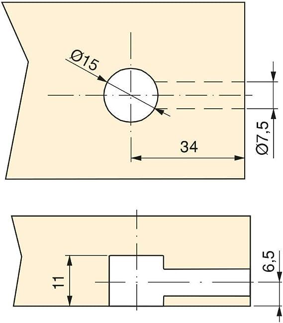 Emuca Kit dexcentriques T15 avec Goujons et /écrous M6 pour Panneau 13mm