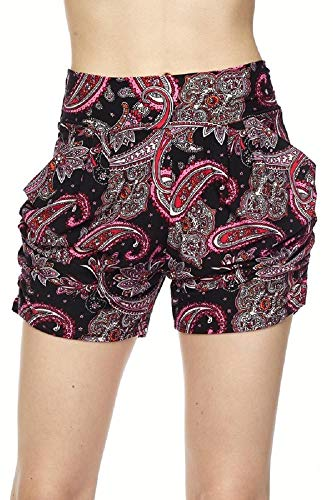 Mix Paisley - Premium Ultra Soft and Comfy Yummy Popular Print Harem Shorts with Pocket (Large/X-Large (12-18), Paisley 2 Print)
