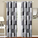 All American Collection Black and Grey Modern Plaid 4-Piece Curtain Set | Matching Quilted Bedspread and Pillow Shams Available!