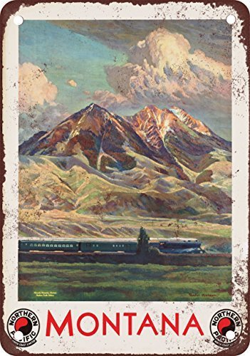 Montana Northern Pacific Railroad Vintage Look Reproduction Metal Tin Sign 12X18 Inches