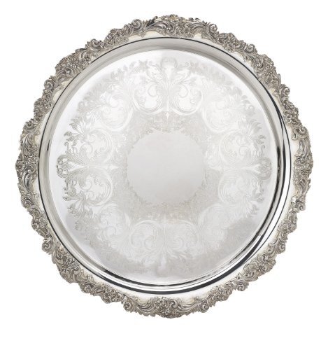 - Reed & Barton S-2302 Silver Plated Engravable Round Tray, 13-Inch, Burgundy