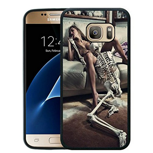 Galaxy S7 Case Black Customized Black Soft Rubber TPU Samsung Galaxy S7 Black Case (Not Fit for Galaxy S7 Edge) Sexy girl and skull Black Skull Protector Case