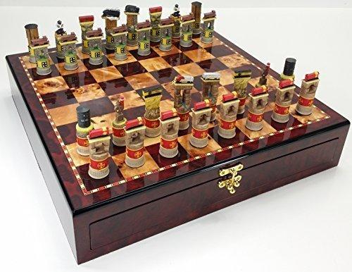 Santa Fe TRAINS Steam vs Diesel Train Engine Chess Set W/ High Gloss Cherry & Burlwood Color Storage Board 17`の商品画像