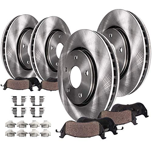 Detroit Axle - 5-LUG FRONT & REAR Brake Rotors & Ceramic Brake Pads w/Hardware for 2007-2009 Chrysler Aspen & Dodge Durango - [2006-2017 Dodge Ram 1500 5-LUG]