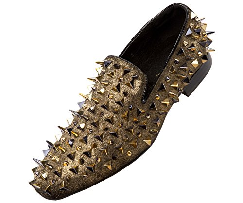 - Asher Green Mens Glitter Suede Spike and Studded Smoking Slipper, Slip On Dress Shoe
