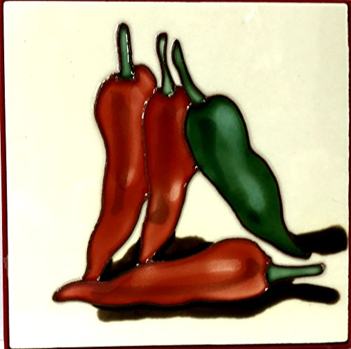 1 , HOT PEPPERS , Decorative Tile, Art on a Ceramic Tile, about, 4