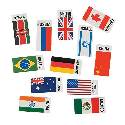 (Flags Around the World Erasers (24 Pieces per Pack) Rubber. 2