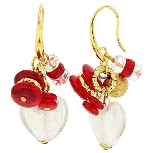 (GlassOfVenice Murano Glass Donatella Heart Charms Earrings - Red )
