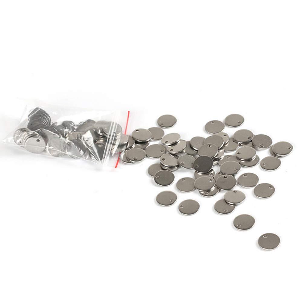 Supvox Pendentifs Breloques en Acier Inoxydable Poli Tag Blanc Rond Accessoires de Fabrication Artisanale 100pcs 15mm paquet