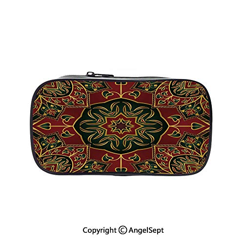 Big Capacity Pencil Case 1L Storage,Asian Nature Ethnicity Figures Eastern Art Fashion Tradition Stylized Flora Decorative Maroon Green Yellow 5.1inches,Desk Pen Pencil Marker Stationery Organizer Wi