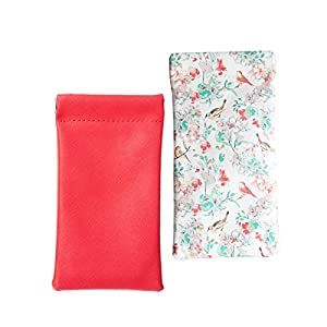 Lucky Leaf Sunglasses Goggles Pouch Case Women Eyeglass Holder with Cleaning Cloth (Pink+White Brid)