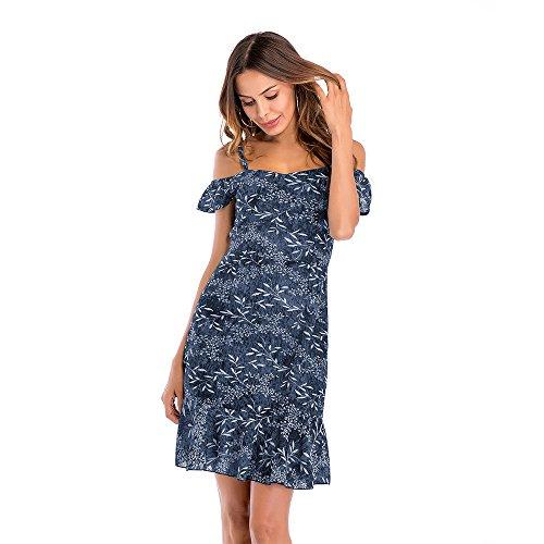 for CCBETTER Dress Summer Short Sleeve Work Sun Women Dress Chiffon Shirt Floral Women Blue Casual Dress Printed qASqxF7w4n