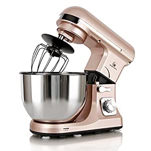 MURENKING Professional Stand Mixer MK37 500W 5-Qt Bowl 6-Speed Tilt-Head Food Electric Mixer Kitchen Machine(Gold)