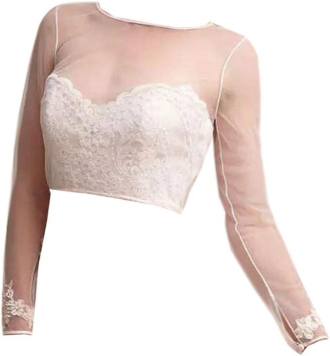 vipgowns Elegante Coprispalle Bolero da Sposa Giacca Coprispalle Nuziale Stile Bolerino da Sposa in Pizzo Impreziosito