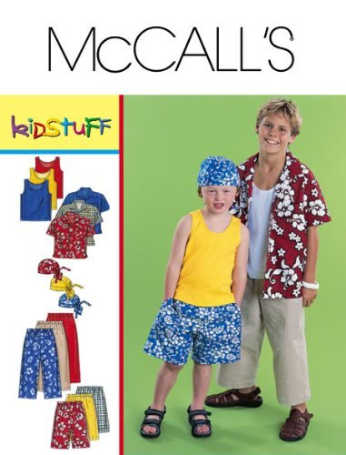 McCall's Sewing Pattern 3193 Boys' Shirt, Tank, Pants, Shorts & Headwrap, Y (3 4 5 6)