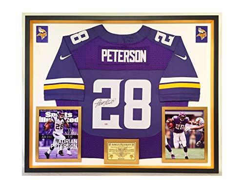 Adrian Peterson Framed - Premium Framed Adrian Peterson Autographed/Signed Minnesota Vikings Nike Jersey - PSA Authenticated