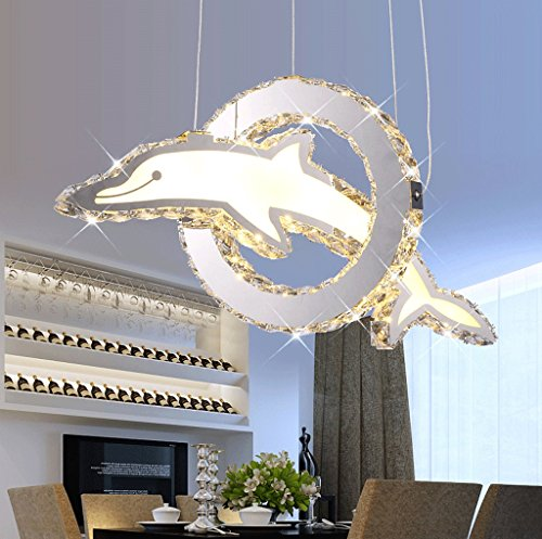 DGF Smallpox Chandelier, Creative Dolphin Stainless Steel Led Crystal Light (L55cm W35cm H100cm)