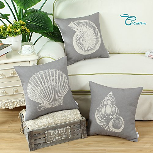Set of 3 Euphoria CaliTime Cushion Covers Throw Pillow Shells Mediterranean Sea Shells 18 X 18 Inches Gray Combo Set