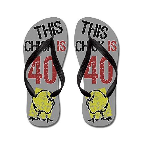 Cafepress 40th Birthday Chick - Chanclas, Sandalias Thong Divertidas, Sandalias De Playa Negras