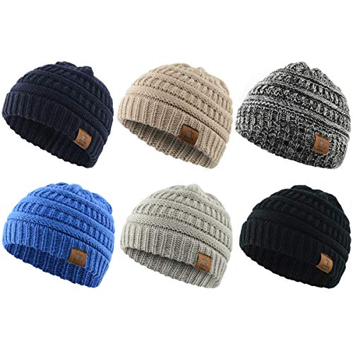 Zando Baby Beanies for Boys Cute Soft Warm Baby Knit Hat Toddler Infant Winter hat Caps for Girls Boys 6 Pack-Mix Color2