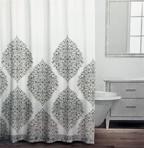 Caro Fabric Shower Curtain Brown Beige Taupe Gray Floral Medallions With Silver Highlights On White Patrizia Grey