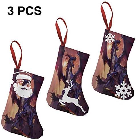 クリスマスの日の靴下 (ソックス3個)クリスマスデコレーションソックス ドラゴン クリスマス、ハロウィン 家庭用、ショッピングモール用、お祝いの雰囲気を加える 人気を高める、販売、プロモーション、年次式