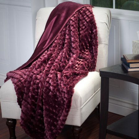Somerset Home Plush Striped Embossed Faux Fur Mink Throw, Burgundy