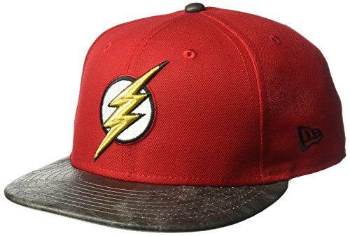 New Era Cap Embroidered Hat (New Era Cap Men's Justice League Flash 9FIFTY Snapback Cap, Red, One Size)