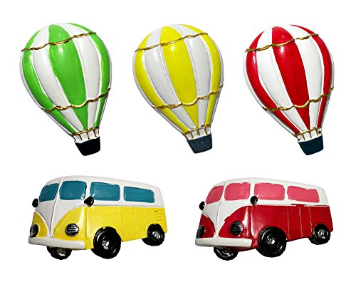 Ariston Refrigerator Drawers (VASTING ART 5-Pack Refrigerator Magnets, Colorful Cartoon Fire Balloon Mini Bus Fridge Office Magnets for Magnetic Whiteboard Premium Acrylic Magnetic Cute Fun Decoration)