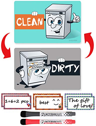 Dishwasher Magnet Clean Dirty Sign – Dishwasher Sign Waterproof And Double Sided Flip With Bonus Metal Plate Include…