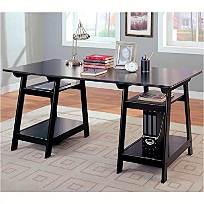 ioneyes trestle style office desk table, black wood finish