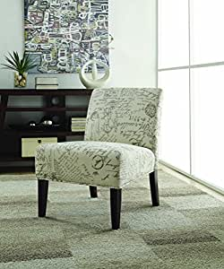 Coaster Home Furnishings 902055 Vintage French Script Contemporary Armless Accent Chair, Beige
