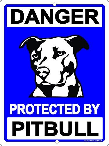 """Warning Protected by Pit Bull Pitbull Dog """"Beware of Dog""""..."""