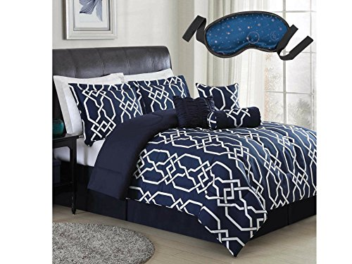 Marc 7-Piece QUEEN Size Reversible Comforter Set in Blue Made of 100% Polyester with Dream Zone Sleep Mask