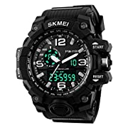 Amazon Lightning Deal 98% claimed: Aposon Men's Large Dual Dial Analog Digital Quartz lectronic Sport Watch Multifunction Two Timezone 24H Military Time Waterproof Casual Back Light 164FT 50M Water Resistant Calendar Day Date - Black