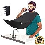 Karibbe Premium Beard Apron Cape + Free Shaper Template Comb & BeardStyles Ebook Included - Professional Salon Grade Black Hair Trimmings Cleaner for Men - Makes Grooming Disposal Easy / Black