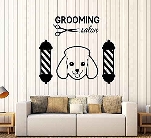 Andre Shop® Vinyl Wall Decal Grooming Pet Dog Logo Beauty Salon Scissors Stickers Large Decor2181ig