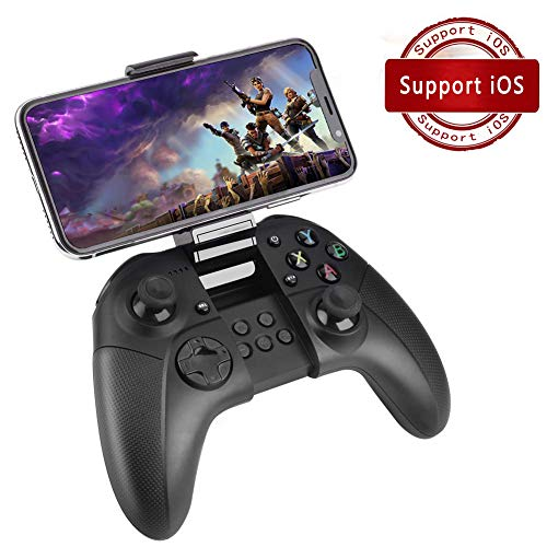 FiveEyes Gamepad Gaming Controller Wireless Bluetooth Gaming Joystick Joypad with Clamp Holder Compatible with iOS/iPhone/iPad/PS4 remote play - Black