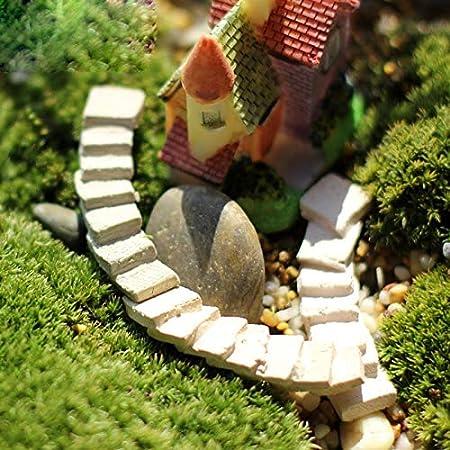 Ochoos escaleras de Camino curvadas Miniatura de jardín de Hadas para decoración del hogar Mini Craft Micro Paisaje decoración DIY Accesorios: Amazon.es: Hogar