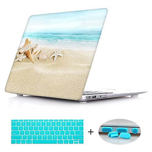 New Fashion Rubberized Clear Laptop case + Keyboard skin + Dust plug For Macbook Pro 13 Retina (Models:A1425/A1502) - Ocean Beach Starfish (Fashion New Spring 2013)