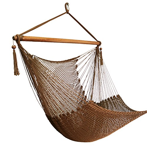 Cheap Best Sunshine Large Caribbean Hammock Hanging Chair with Footrest, Large Hammock Net Chair, Polyester (Brown)